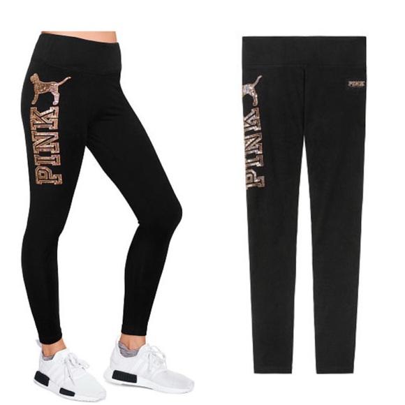 8f855e2e15 Black Victoria Secret Sequin Leggings. VS PINK BLING rose gold dog COTTON  YOGA LEGGING
